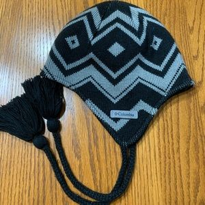 Columbia beanie with strings.